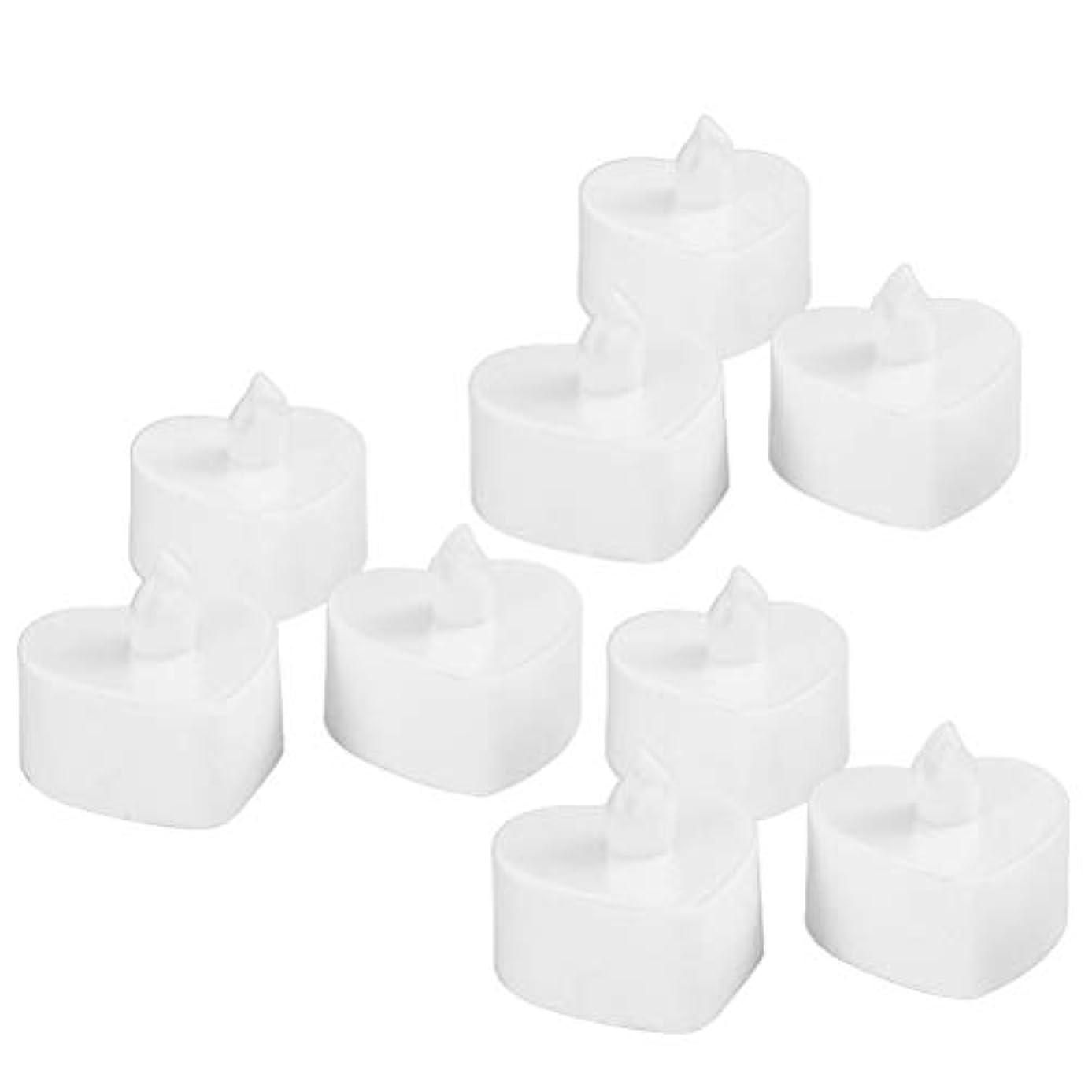 精度威するお風呂を持っているBESTOYARD 10個のLed茶ライトは、電池が作動する無炎Tealightキャンドル暖かい黄色のライトは、ハートシェイプのクリスマスのウェディングパーティの装飾(白いシェル、黄色のライト)