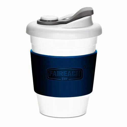 コーヒーカップ Faireach 蓋付きのコップ 熱に強い 割れない BPAフリー 夫婦コーヒーコップセット FDA承認 滑り止めカバー付き 繰り返し使用可能 仕事用 飲み口付き 食洗機/電子レンジ対応340ml/12オンス ブルー