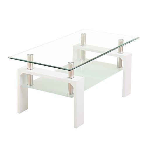 (OSJ)ガラステーブル コーヒーテーブル 幅98cm 強化ガラス天板(クリ...