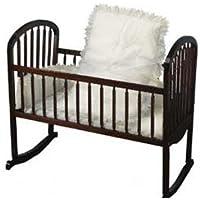 ホワイトEyelet Cradle bedding-ruffled-size : 18 x 36
