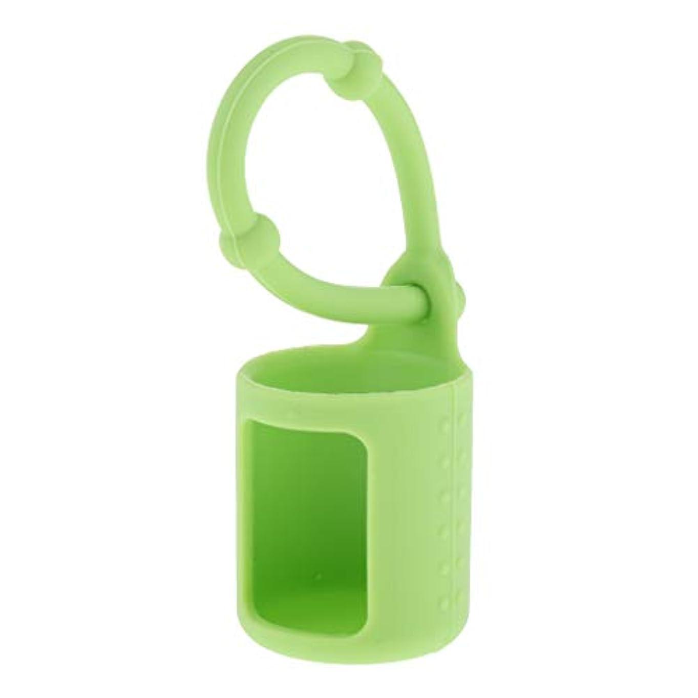 優先制限不忠6色選べ シリコーン ローラーボトルホルダー エッセンシャルオイル キャリングケース 5ml - 緑