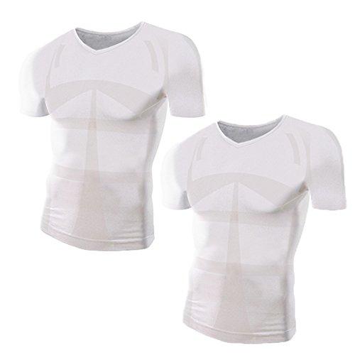 加圧シャツ モアプレッシャー メンズ 加圧インナー (Vネック/M-Lサイズ/白2枚セット)