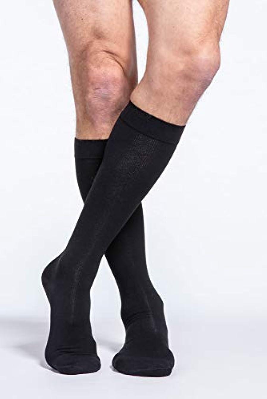 対象アンタゴニスト動作Sigvaris Men's Cotton Knee High 30-40mmHg Closed Toe Short Length, Medium Short, Black by Sigvaris