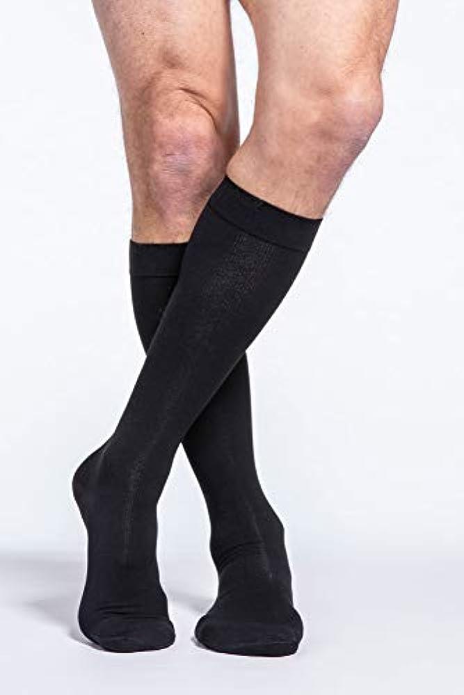 酸っぱい作るシーケンスSigvaris Men's Cotton Knee High 30-40mmHg Closed Toe Short Length, Medium Short, Black by Sigvaris