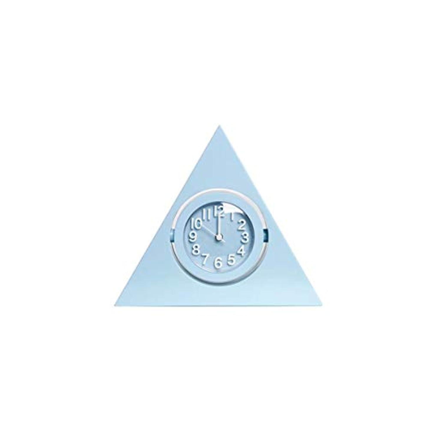 チャット取り除く複雑なQiyuezhuangshi001 目覚まし時計、クリエイティブ学生用時計、寝室のベッドサイドテーブル、置時計、スタイリッシュな三角時計、リビングルーム、サイレントクロック、青、 材料の安全性 (Color : Blue)