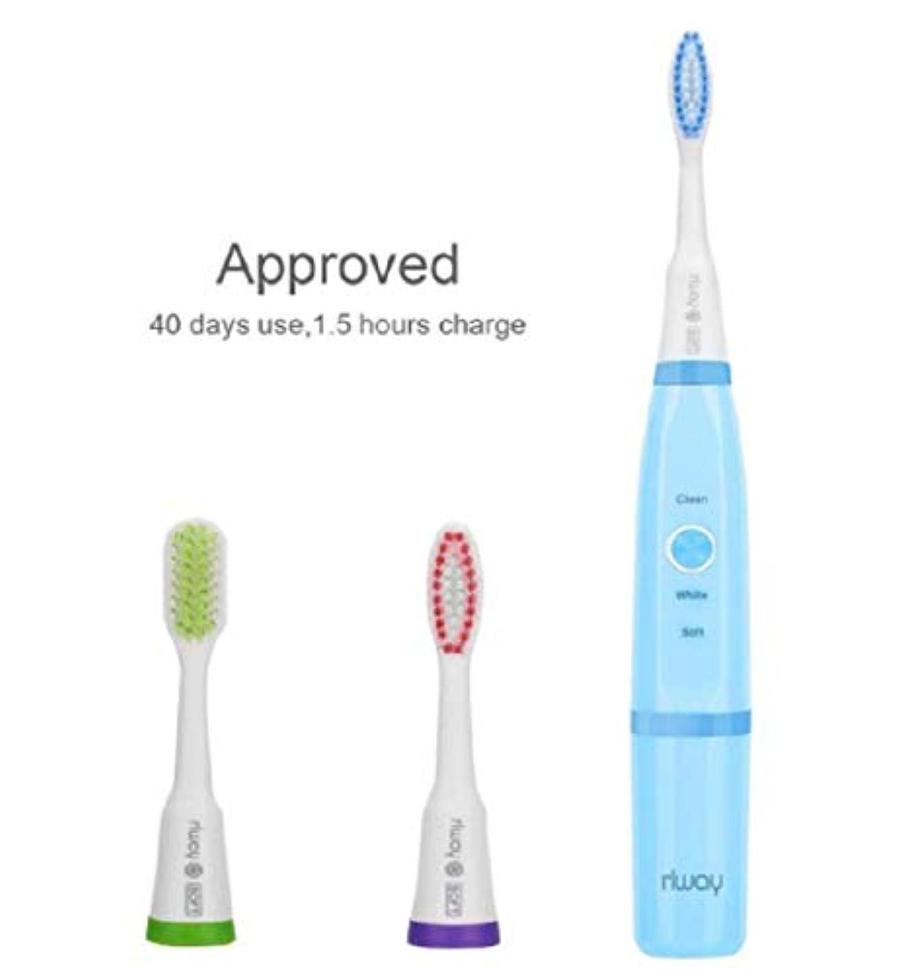 タンパク質シャイニング六電動歯ブラシ rlway 超音波電動歯ブラシ IPX7防水 USB充電式 替えブラシ3本 プロテクトクリーン 歯ブラシ ハブラシ 子供大人に適用 ブルー