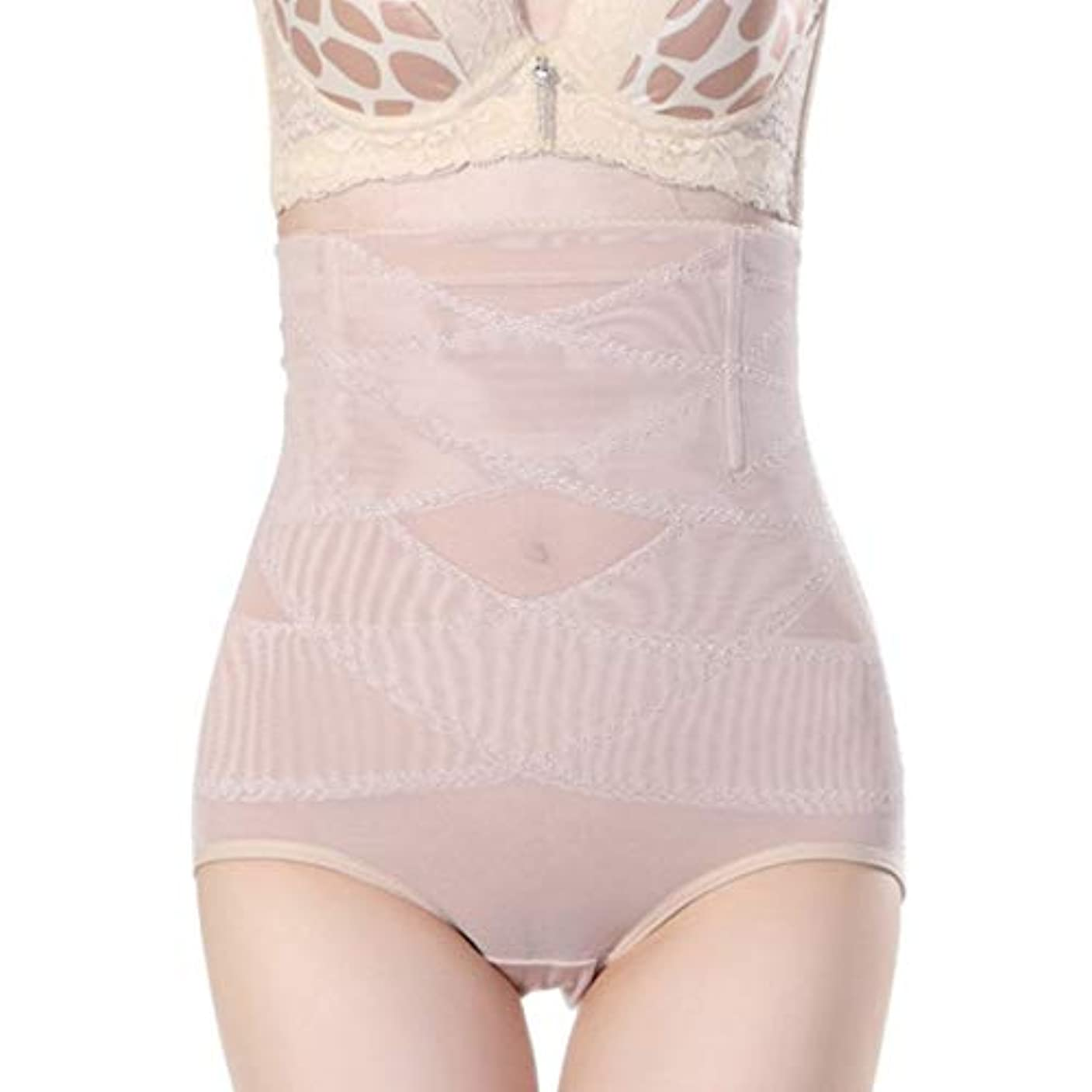 付録静かに見出し腹部制御下着シームレスおなかコントロールパンティーバットリフターボディシェイパーを痩身通気性のハイウエストの女性 - 肌色L