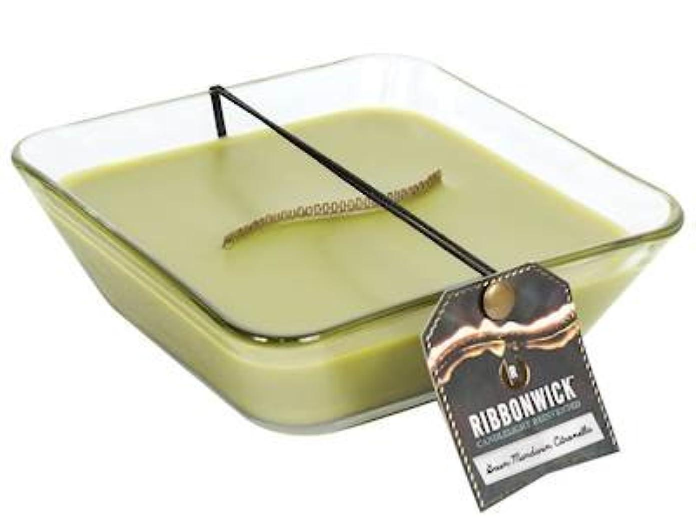 薄汚い麦芽急行するグリーンマンダリンシトロネラ装飾ガラスMedium RibbonWick Scented Candle – アウトドアコレクション