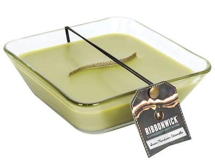 色合いレシピ消すグリーンマンダリンシトロネラ装飾ガラスMedium RibbonWick Scented Candle – アウトドアコレクション
