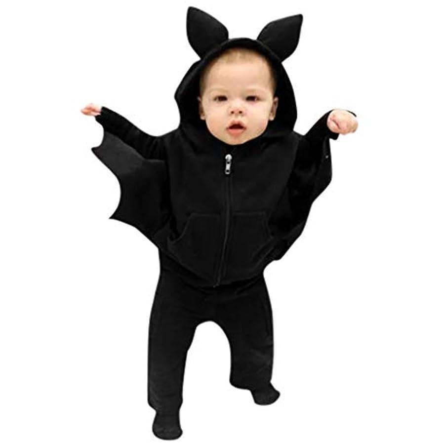 カメコーデリア枢機卿MISFIY ハロウィン キッズ ベビー服 子供 男の子 女の子 2セット フード付き 長袖 かわいい バット 仮装衣装 プレゼント 黒 撮影 (80)