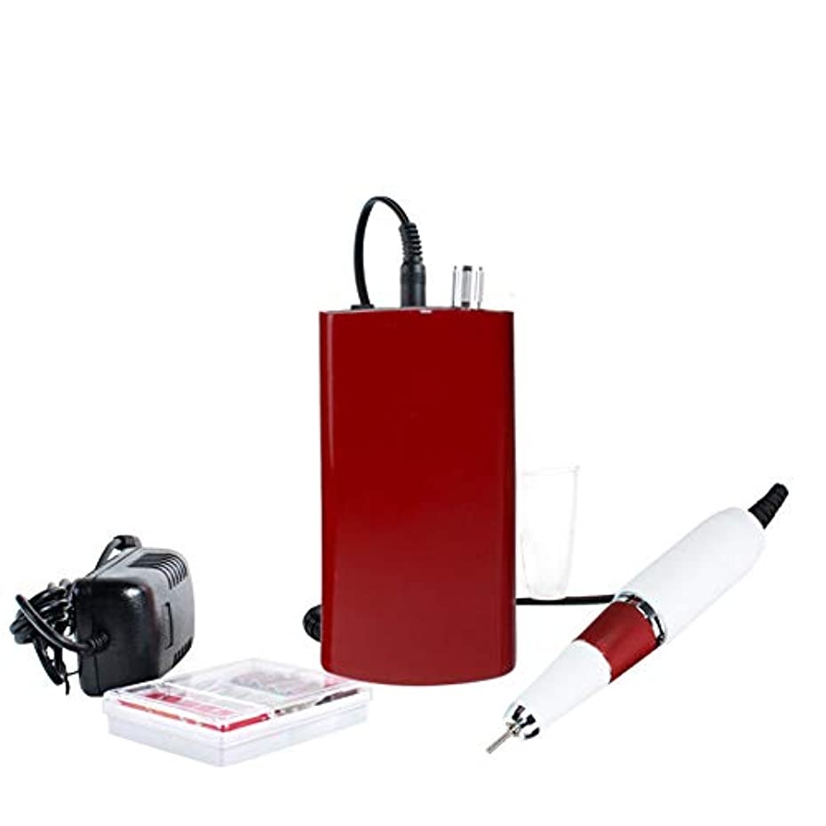 後ろに休憩する講堂30000 rpm電動ネイルアートドリルマシンアートサロンマニキュアツール電動研磨機ネイルパワードリル、110-240ボルト,Red