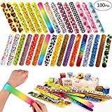 Toyssa 100 PCS Slap Bracelets Party Favors with Colorful Hearts Emoji Animal Print Design Retro Slap Bands for Kids Adults Bi