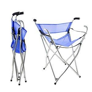 Freshore - 四本足のステッキチェアー椅子ゴルフ 背もたれ付き、心地よい弾力性のあるシート 持ち運び便利 折りたたみ 式 アウトドア用品 耐荷重 150kg ステンレス材質 高品質を持つ