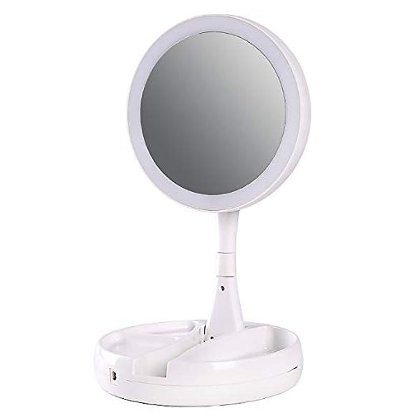 振り返る死の顎好意Migavan 化粧鏡 折りたたみ化粧鏡 折りたたみLEDライト付き化粧鏡360度回転10倍拡大鏡メイクアップ化粧品ハンドミラー