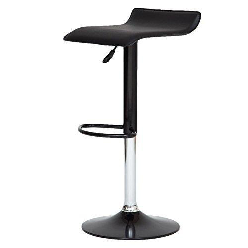 【女性に人気 軽くて使いやすいカウンターチェア】 座面レザー調 軽量チェア(重さ約5kg) 昇降式 脚部も同色デザインで可愛いチェア (ブラック色)