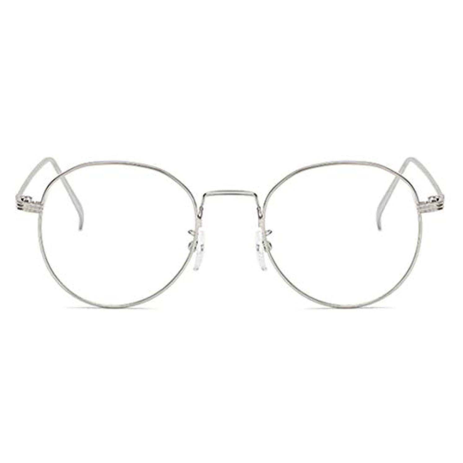 政策中国スリット丸型アンチブルーライト男性女性メガネ軽量金属フレームプレーンミラーレンズアイウェアメガネ-シルバー