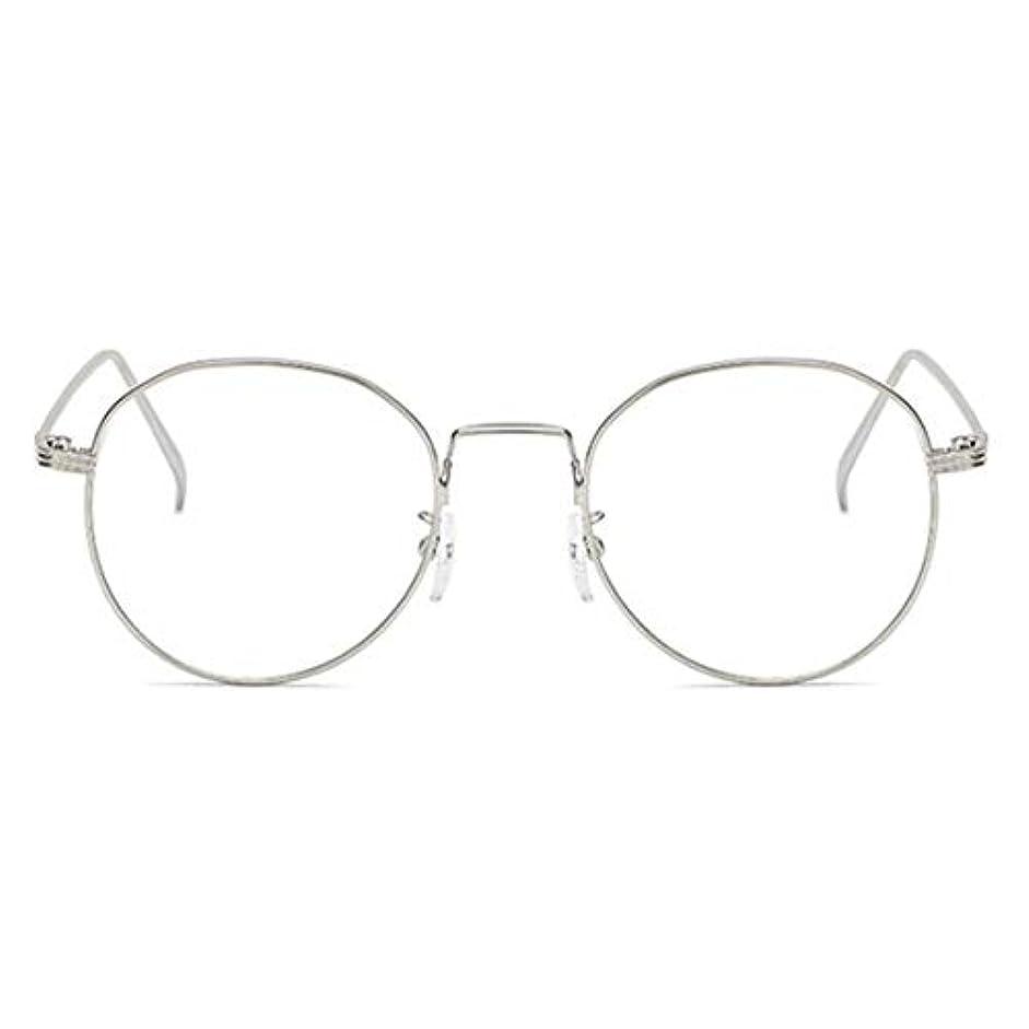 社員想像力テニス丸型アンチブルーライト男性女性メガネ軽量金属フレームプレーンミラーレンズアイウェアメガネ-シルバー
