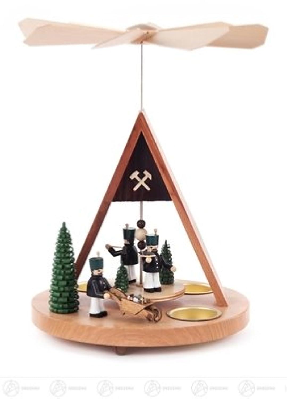 x の深さの茶ライト幅 X の高さのための抗夫そして木が付いているピラミッドは、 20 の cmx28 cmx19,5 cm の鉱石山ピラミッドのクリスマスのピラミッドを台に置きます