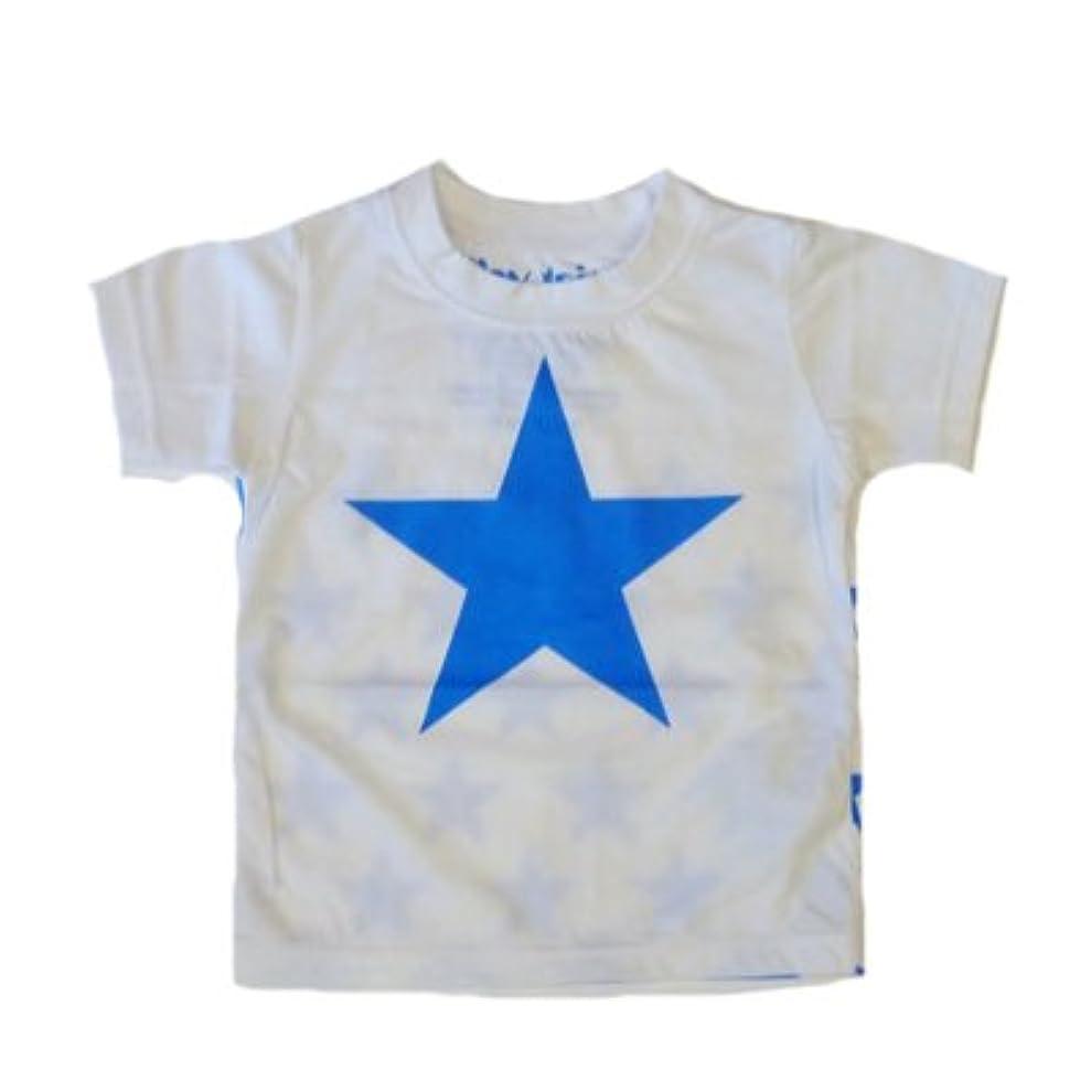 天井軸敬の念TINY TAITO(タイニィタイト) キッズTシャツ ☆星Tシャツ(ホワイト X ブルー)