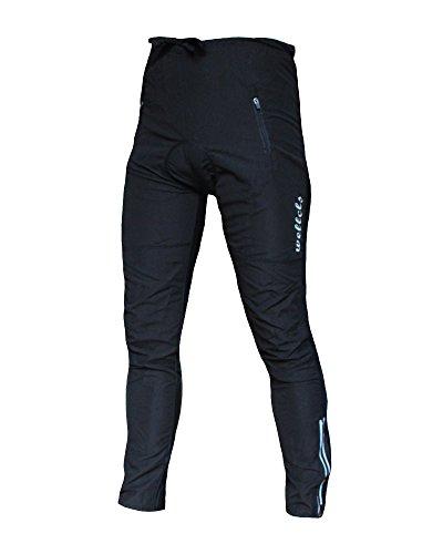 Wellcls(ウェルクルズ) 春夏用 3Dゲルパッド付 レーサーパンツ ロング 自転車 サイクリング ブラック 黒 XXL(92-98cm)