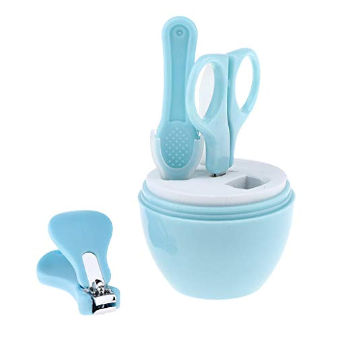 不定ライム弾性4本の実用的な赤ちゃんネイルケアセットネイルクリッパーシザーマニキュアキット - ブルー