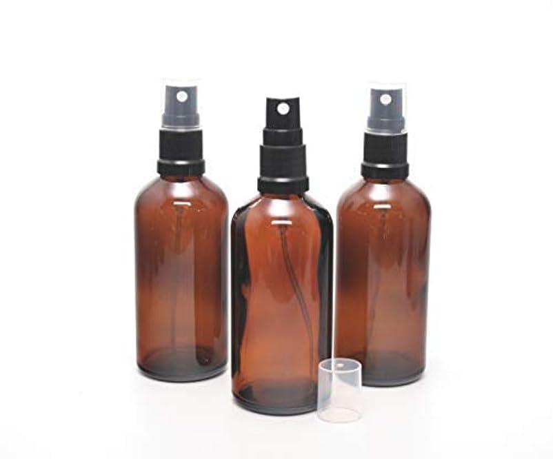 あいまいさ実装するランドリー遮光瓶 スプレーボトル (グラス/アトマイザー) 100ml / ブラックヘッド 3本セット【Cクラス 新品アウトレット商品 】 (アンバー)