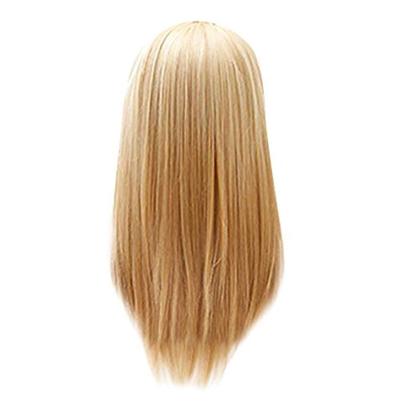 大臣即席対人レディースゴールドロングストレートヘアウィッグセクシーファッション25