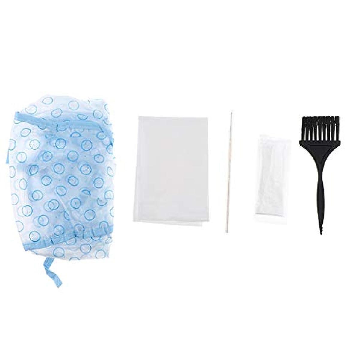 ゴミ箱を空にするコメンテーターマイクロプロセッサヘアダイキャップ ヘアダイブラシ キャップ 手袋 ケープ 毛染めツールセット 5個