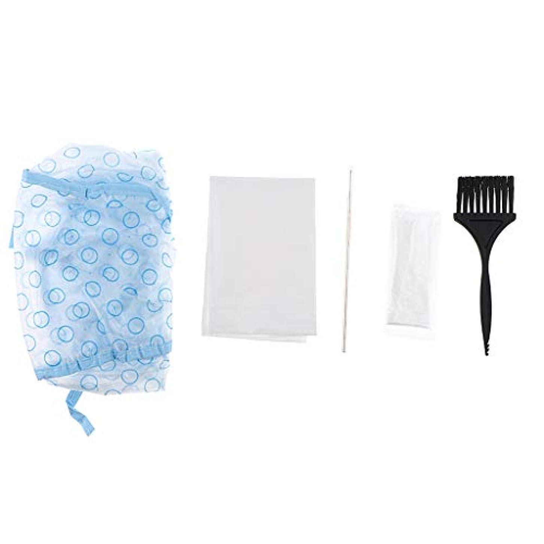 軽食関税後方にCUTICATE 髪染めブラシ キャップ フック針 手袋 ヘア染めツールキット 5個セット