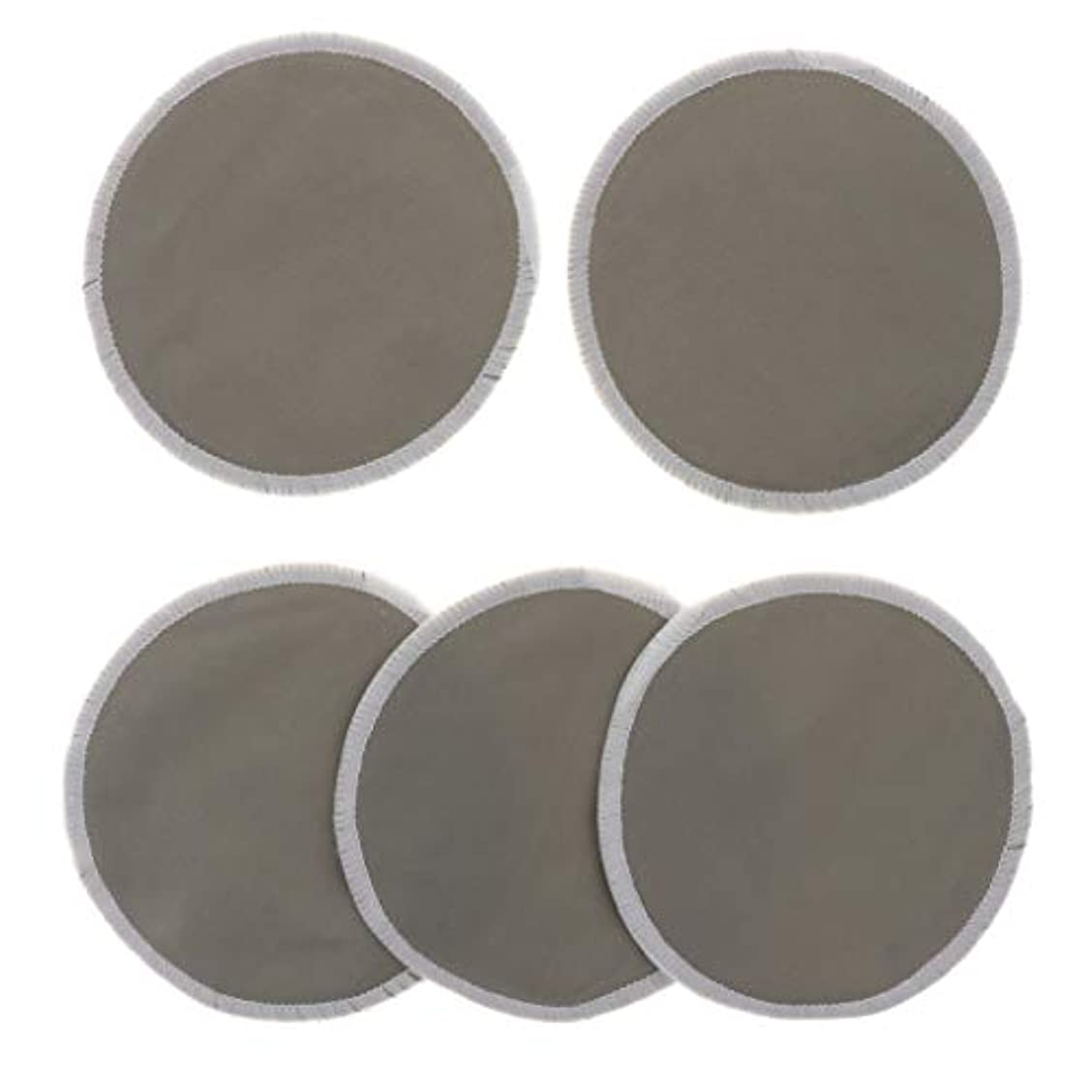 受け皿凍結付属品胸パッド クレンジングシート メイク落とし用 竹繊維 円形 12cm 吸収性 再使用可能 5個 全5色 - グレー