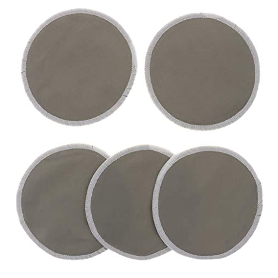 マラウイ追い越す肝胸パッド クレンジングシート メイク落とし用 竹繊維 円形 12cm 吸収性 再使用可能 5個 全5色 - グレー