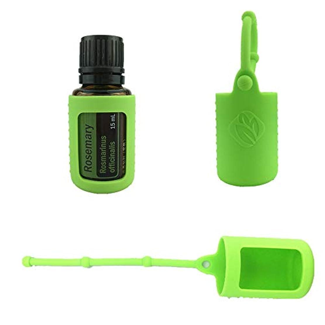 医薬品時間暴力6パック熱望オイルボトルシリコンローラーボトルホルダースリーブエッセンシャルオイルボトル保護カバーケースハングロープ - グリーン - 6-pcs 10ml