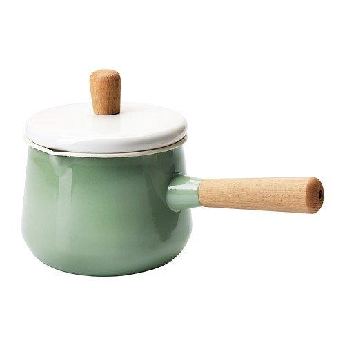 ホーロー鍋 ソースパン 片手鍋 ふた付き 木製ハンドル グリーン×ホワイト IH対応 14cm