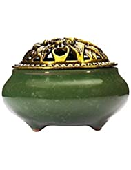 (Dark Green) - Incense Burner with Brass Incense Stick Holder Ice-Patterned Dark green Handmade Censer by Xujia.