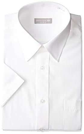ワイドカラー 半袖ワイシャツ 白 メンズ 半袖 ワイシャツ Yシャツ Sサイズ