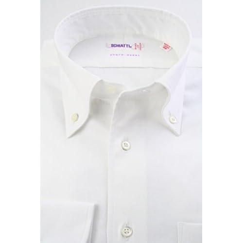 (スキャッティ) SCHIATTI 白無地 綿100% 80番手双糸 ロイヤルオックス ボタンダウン (細身) ドレスシャツ bd4166-3983