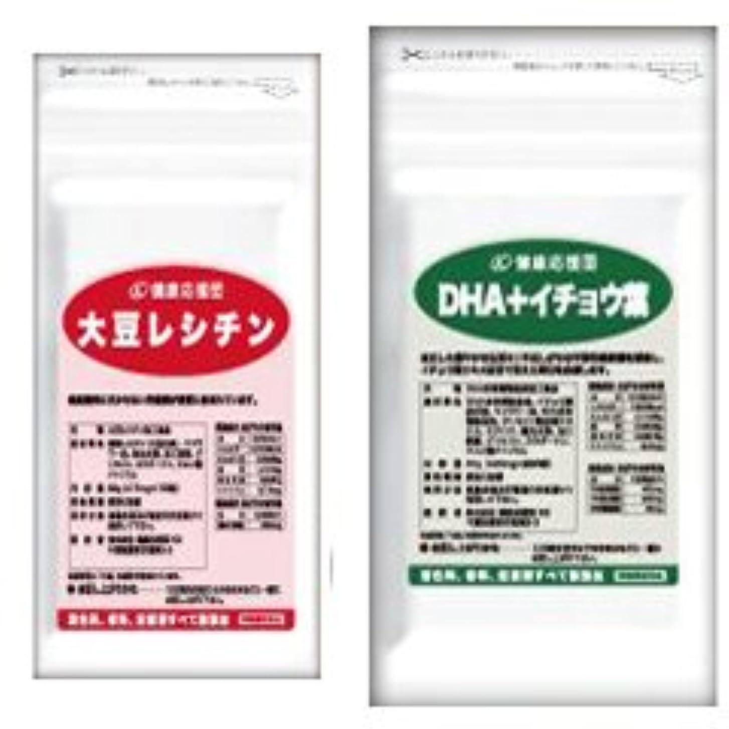 ヘルシー意識的透明に(お徳用3か月分)流れサラサラセット 大豆レシチン+(DHA+イチョウ葉)3袋&3袋セット(DHA?EPA?イチョウ葉)