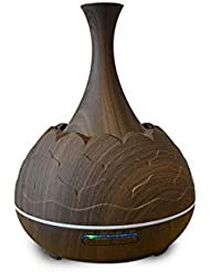 木目 霧 香り 精油 ディフューザー,7 色 空気を浄化 加湿器 時間 手動 Wifiアプリコントロール 加湿機 ホーム Yoga- 400ml