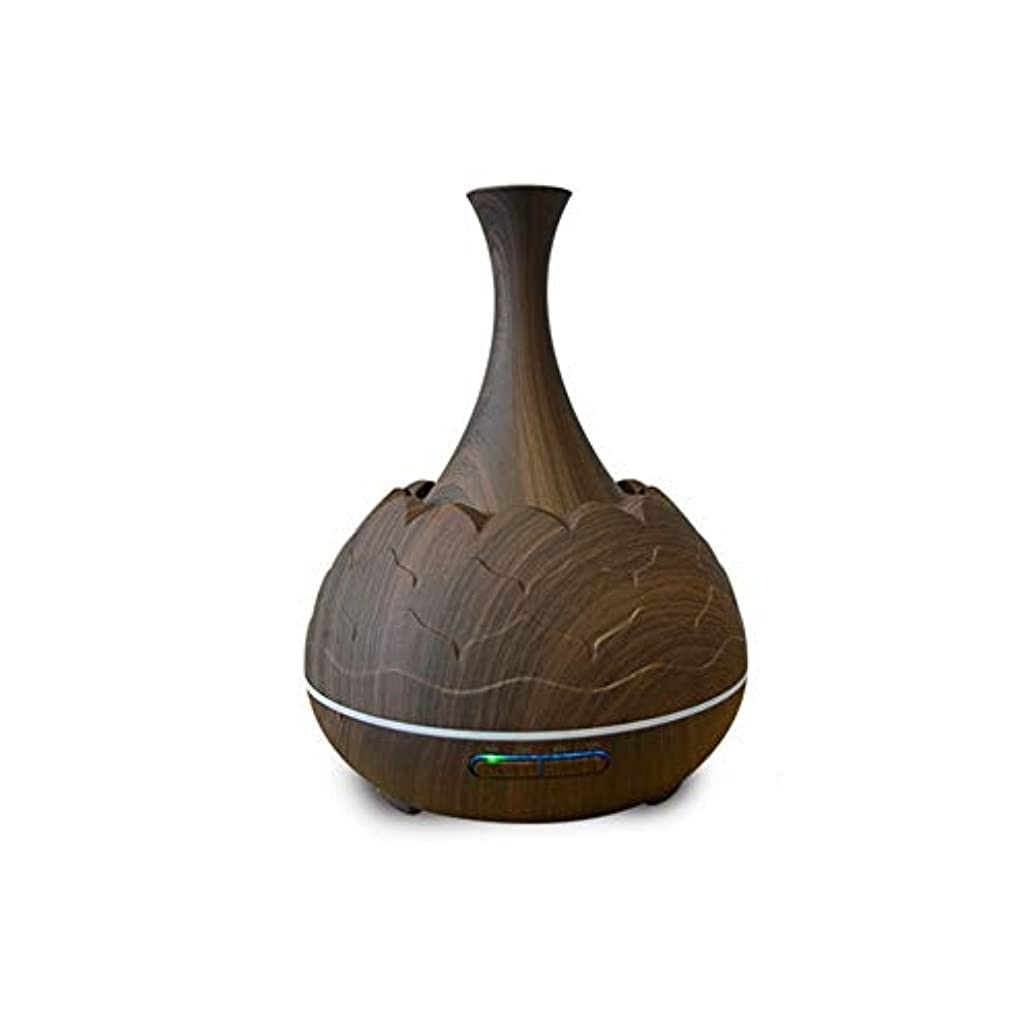 ナチュラル鋸歯状お互い木目 霧 香り 精油 ディフューザー,7 色 空気を浄化 加湿器 時間 手動 Wifiアプリコントロール 加湿機 ホーム Yoga- 400ml