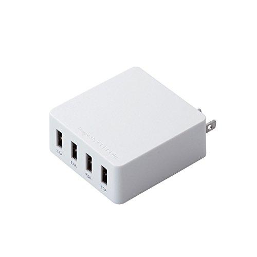 スマートフォン用AC充電器/4A出力/4ポート/ホワイト MPA-AC4U001WH 1個