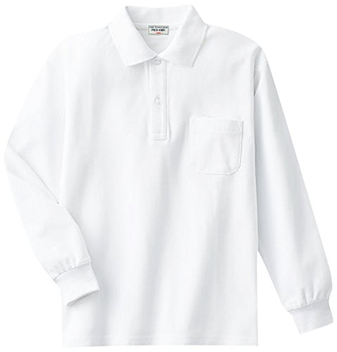 鹿の子長袖ポロシャツ(白)子供/スクール/キッズ/小学生/制服/男女兼用/ 130cm(10000)