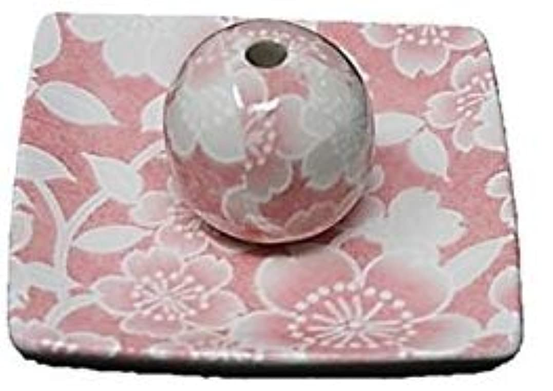 定常眉理解する桜友禅 ピンク 小角皿 お香立て 陶器 ACSWEBSHOPオリジナル