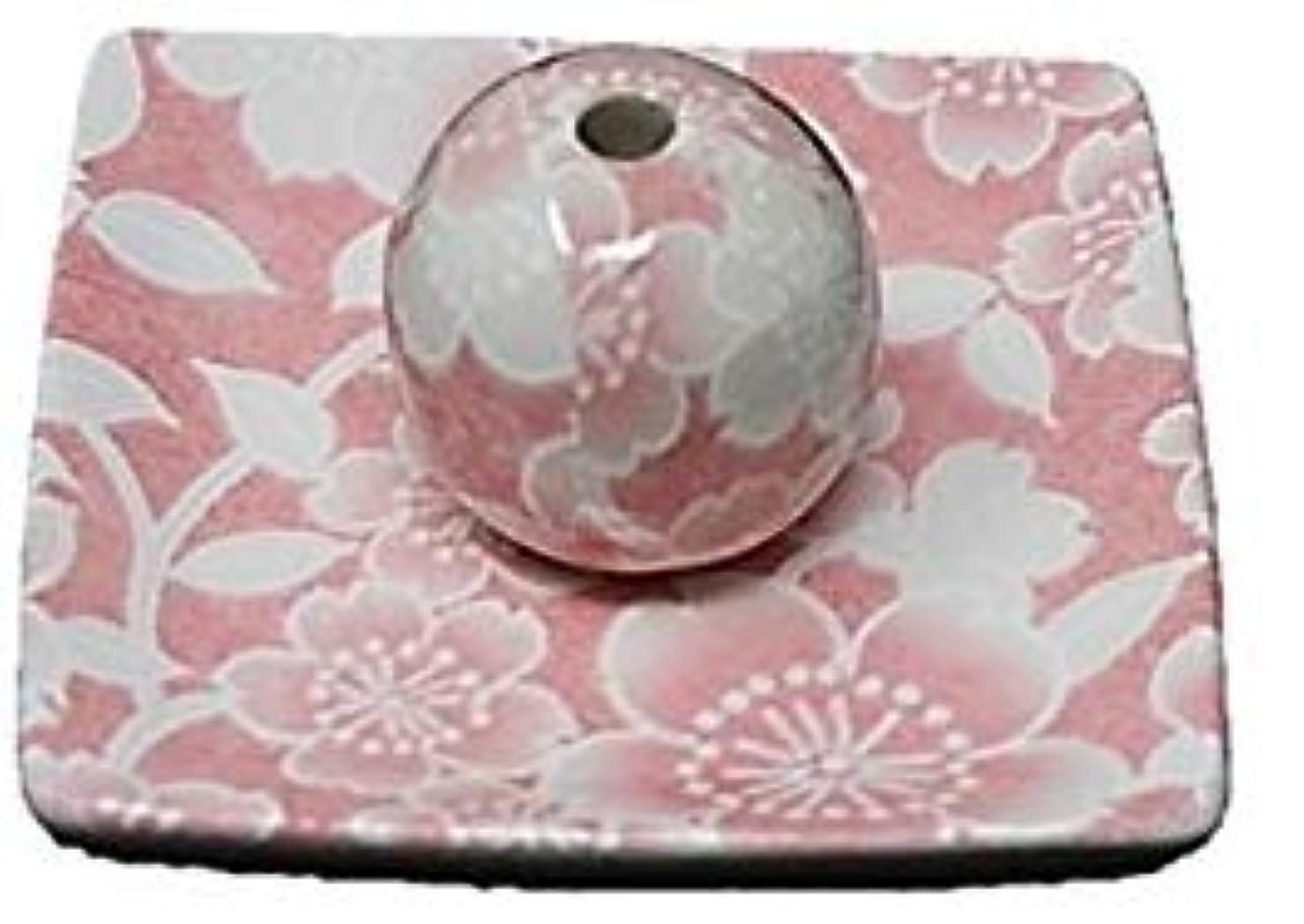 シャワー思い出させる内なる桜友禅 ピンク 小角皿 お香立て 陶器 ACSWEBSHOPオリジナル