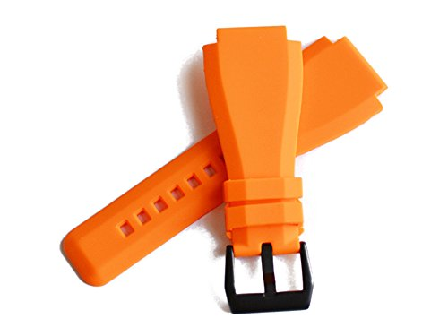 「ベル&ロス(Bell&Ross)向け」輸入王オリジナル BR01,BR03用 ラバーベルト 社外品 オレンジ 24mm