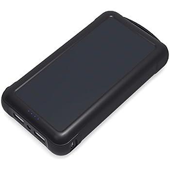 AUKEY ソーラーチャージャー 20000mAh モバイルバッテリー 大容量 USB充電器 2USBポート 太陽エネルギーパネル ソーラー充電器 非常用 災害時/ 旅行/出張など iPhone&Android対応(ブラック) PB-P17