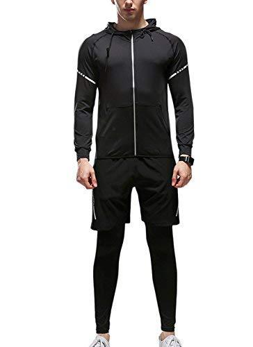 (シュアナウ)SURENOW ジャージ メンズ ランニングウェア 4点セット 伸縮性 吸汗速乾 ジョギング ウォーキング フィットネス ジム トレーニング スポーツウェア