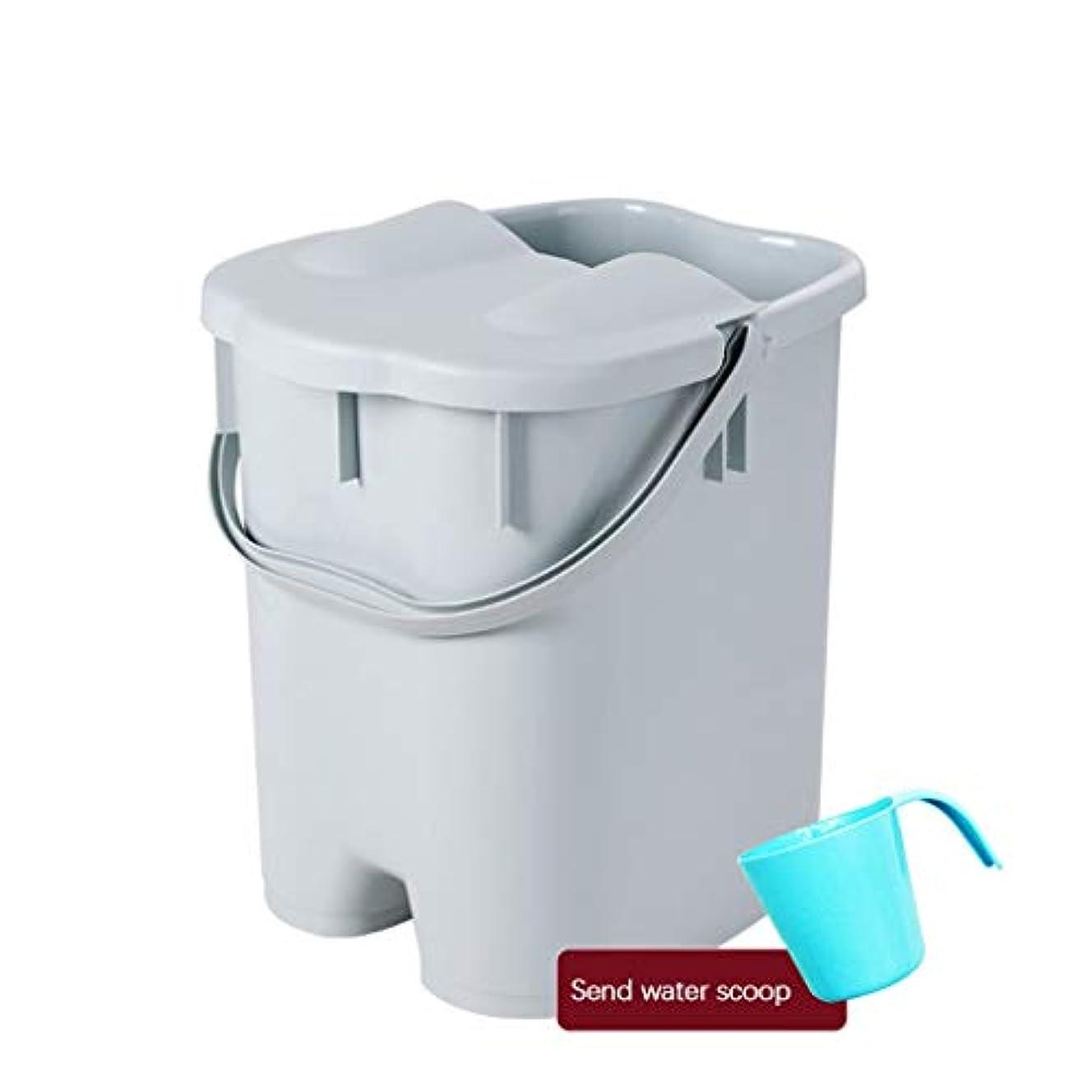 レディ成熟ベストBB- ?AMTポータブルマッサージ浴槽プラスチック足湯バケツ付き蓋保温足風呂盆地大人スパボウル世帯 0409 (色 : Gray, サイズ さいず : 27*31*41cm)
