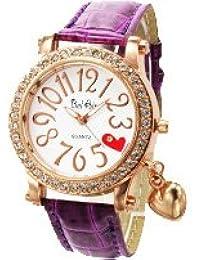 腕時計 レディース かわいい 革ベルト ぷっくり ハート チャーム パヴェ クリスタルベゼル腕時計 パープル