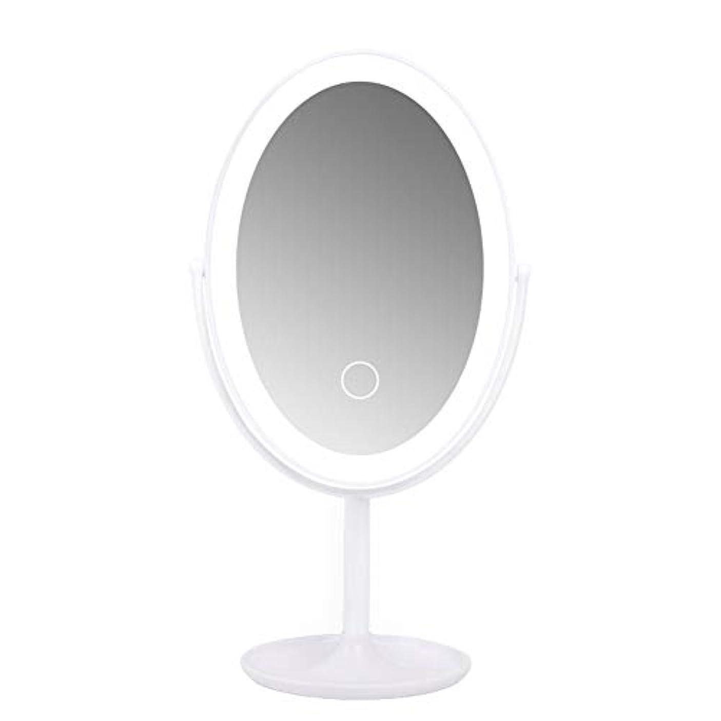 ロードハウス放置壊すCatChi 化粧ミラー LED 女優ミラー 360度回転 メイクミラー 卓上 円型 タッチ式 化粧鏡 洗面所用 USB給電 ポータブル