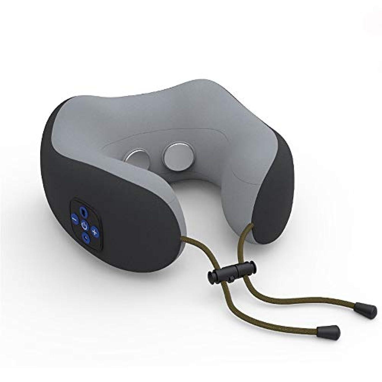 スケッチ揺れるデッキU字型枕マッサージャー、U字型パルスネックマッサージャー、多機能頸部マッサージャー - 首、背中、肩、筋肉痛の軽減,Black
